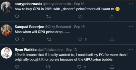 Twitter users complain about the increase of GPU prices.